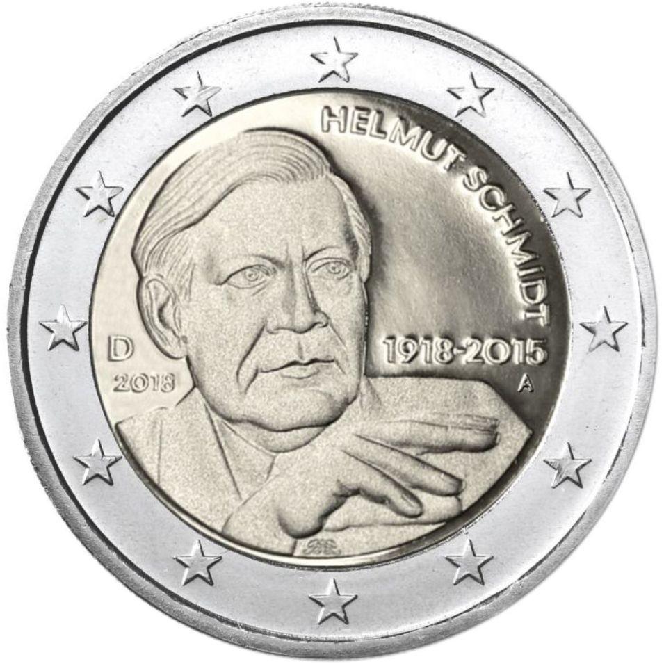 "Germany 2 euro coin 2018 UNC all mintmarks ADFGJ /""Helmut Schmidt/"" 1918-2015"